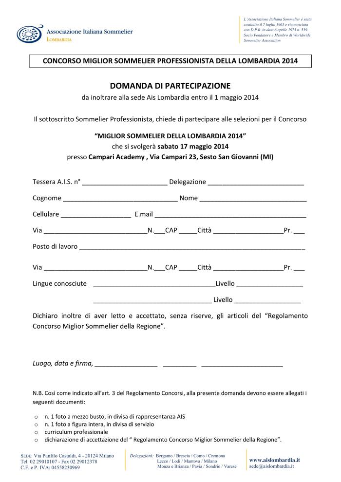 Domanda Partecipazione Miglior Sommelier Ais Lombardia 2014