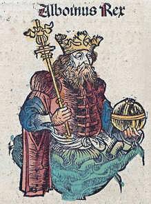 Ritratto di Re Alboino, dalle Cronache di Norimberga