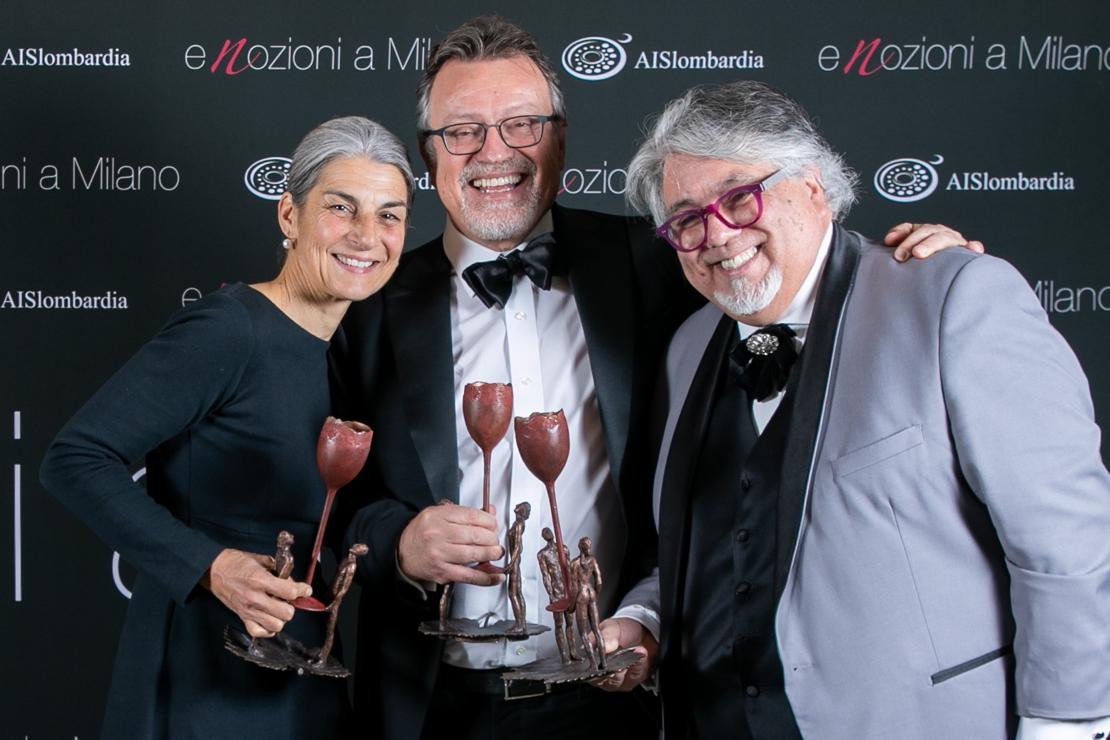 I premiati di Enozioni a Milano 2020: Elisabetta Foradori, Luciano Ferraro e Charlie Arturaola
